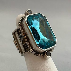 Jewelry - Blue Crystal, 2-Tone Quartz & Sterling